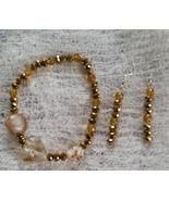 Topaz and Bronze Beaded Stretch Bracelet and Earring Set - $8.00
