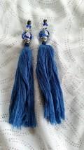 Handmade Blue Jeweled Tassels 5 1/4 inches long - $7.00