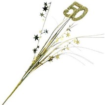 50th Anniversary Gold 3 Pcs Stars Onion Grass Spray Metallic Pick Decor... - $7.99