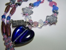 Blue heart pendant glass charm 22 inch beaded necklace  - $12.99