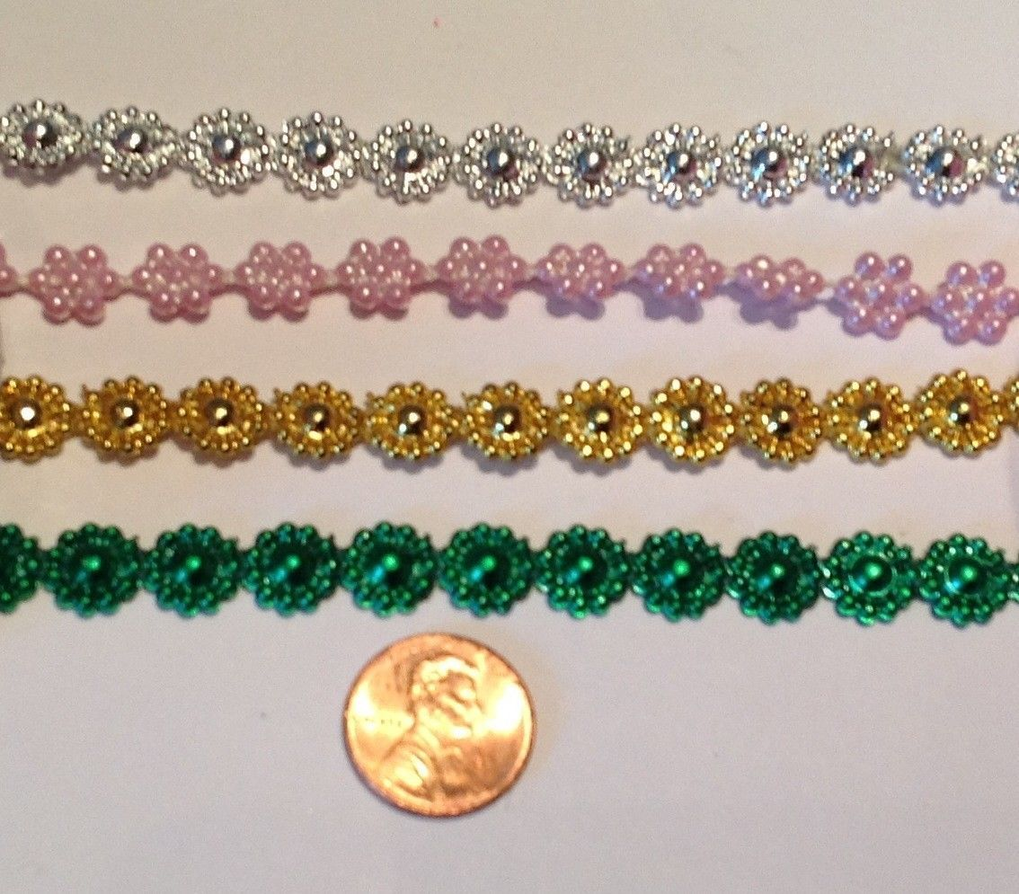 10yd blue Flower Plastic Pearl Bead String Wedding trim Scrapbook Craft 1cm