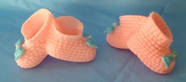 12 Baby shower favors plastic pink booties attached with a blue bow decoration - $4.90