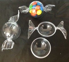 """12 Clear Plastic Ball fillable Ornament favor wrapped candy look 1.5"""" ball - $8.86"""