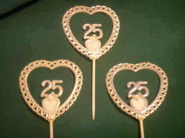 "12 pieces 25th Anniversary plastic heart picks decorations 3"" dia 5"" long - $4.94"