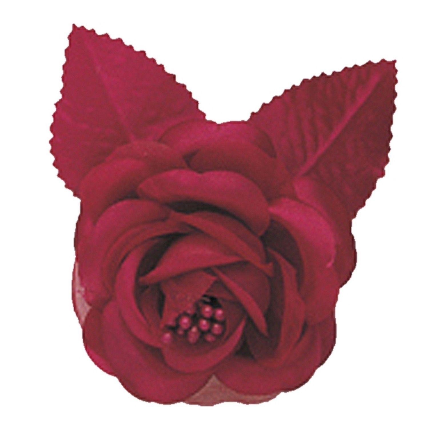 "12 silk roses wedding favor flower corsage burgundy 2.75"""