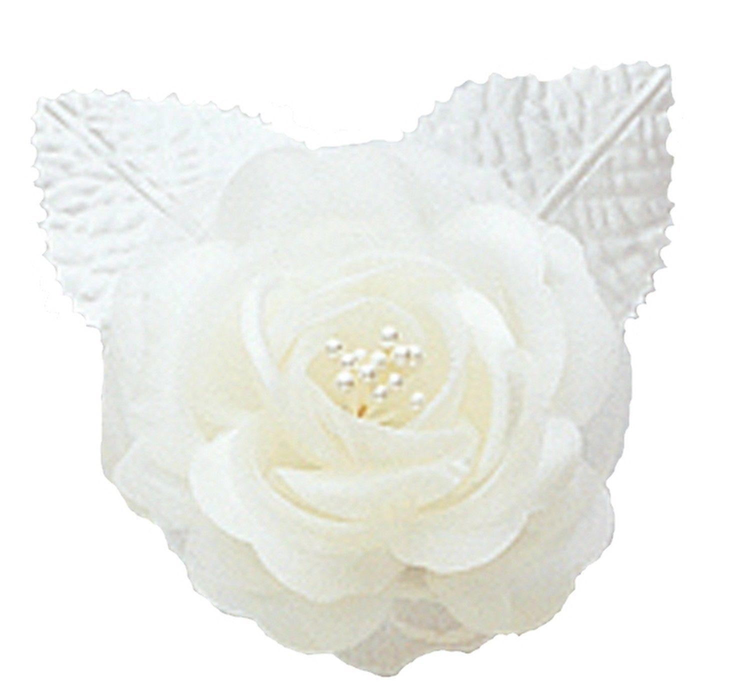 "12 silk roses wedding favor flower corsage Ivory 2.75"""
