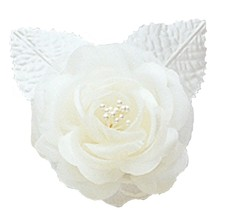 "12 silk roses wedding favor flower corsage Ivory 2.75"" - $7.72"