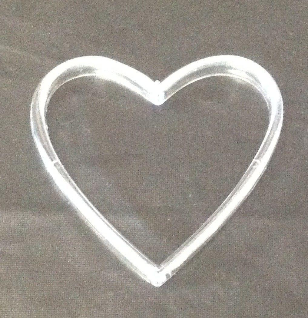 "12 plastic acrylic heart ring wedding favor accessory 2.5"" x 2.5"""