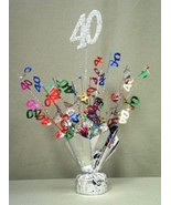 "2 Metallic Multicolor 40th Anniversary or Birthday Balloon Weights 15"" Tall - $9.85"