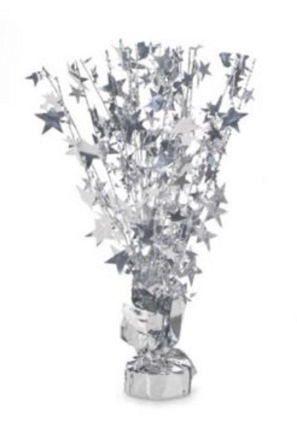 """2 Metallic Silver stars Anniversary or Birthday Balloon Weights  15"""" tall"""