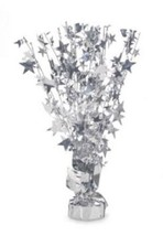"2 Metallic Silver stars Anniversary or Birthday Balloon Weights  15"" tall - $9.85"