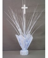 "2 White Balloon Weights with Cross Religious Communion 20"" Tall - $9.85"