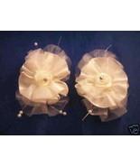 2 Satin Organza rhinestone hair clip barrettes bows - $1.24