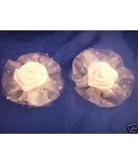 2 Satin Organza white rose hair clip barrettes bows - $1.24