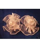 2 Satin Organza barrettes with center mini rose white - $1.34