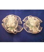 2 Satin Organza barrettes center mini rose lt green - $1.34