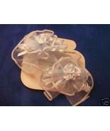 2 Satin Organza barrettes with center mini rose blue - $1.34