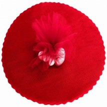 "25 Scalloped Tulle Circles 12"" Wedding Favor Wrap - Red - $9.85"