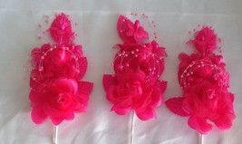 """3 hot pink Silk Pearl & organza flower  Corsages 5""""x 2.5 with pearl pin - $6.68"""
