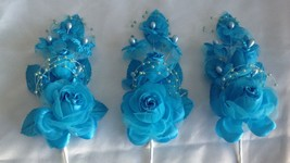 """3 turquoise Silk Pearl & organza flower  Corsages 5""""x 2.5 with pearl pin - $6.68"""