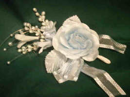 3 light blue Silk rose and Satin Pearl & organza Corsages - $6.68