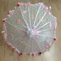 "36"" Personalized White Lace baby shower umbrella Pink ribbons rattles pa... - $49.45"