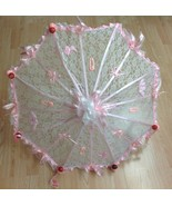 """36"""" Personalized White Lace baby shower umbrella Pink ribbons rattles pa... - $49.45"""