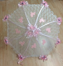 "32"" White Lace baby shower umbrella PINK rocking horses, rattles and bug... - $27.71"