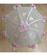 """32"""" White Lace baby shower umbrella PINK rocking horses, rattles and bug... - $27.71"""