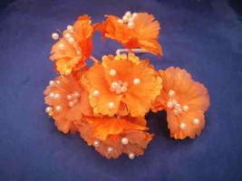 36 Silk Daisy Flower Favor Picks With Center Pearls - Orange - $7.92