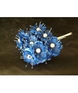 36 Wedding Bridal Pearl Satin Organza Flower Favor Pick - Royal blue - $6.93