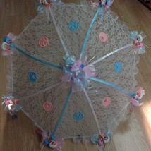 "36"" White Lace baby babies shower umbrella Pink & Blue ducks & pacifiers - $27.71"