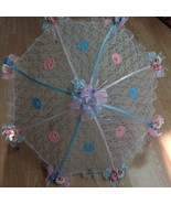 """36"""" White Lace baby babies shower umbrella Pink & Blue ducks & pacifiers - $27.71"""