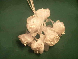 36 white wedding bridal organza flower with rhinestone - $11.88