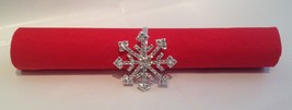 4 Rhinestone Winter Holiday Snow Flake Silver Napkin Rings - $13.85