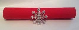4 Rhinestone Winter Holiday Snow Flake Silver Napkin Rings - $13.85