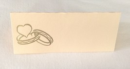 "50 Gold Wedding Rings Tent Style Ivory place cards 4.25"" x 1.75 folded - $7.91"