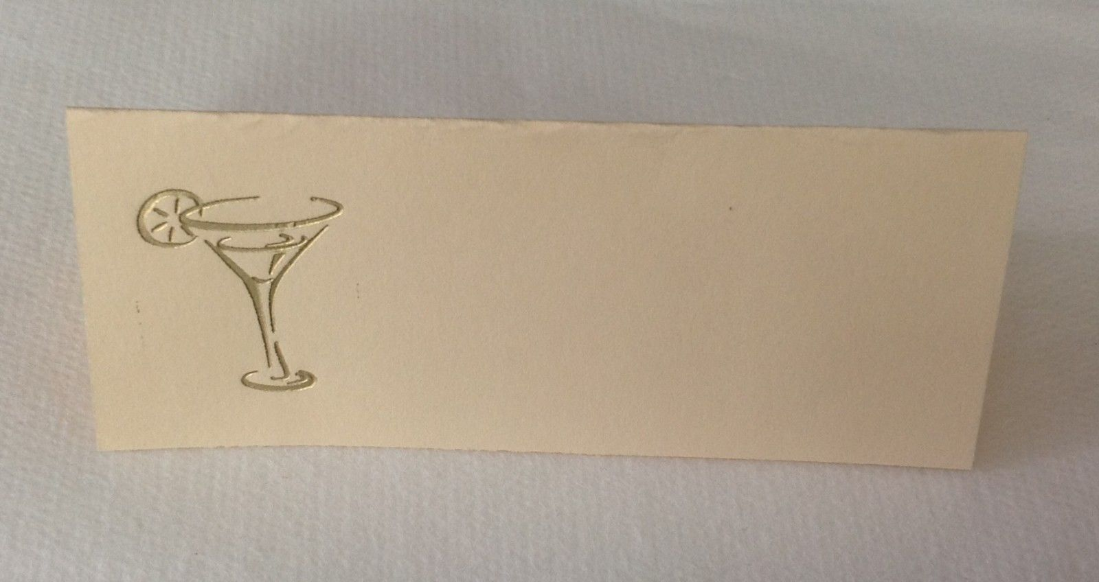 """50 Gold Martini glass Tent Style Ivory place cards 4.25"""" x 1.75 folded"""