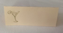 "50 Gold Martini glass Tent Style Ivory place cards 4.25"" x 1.75 folded - $7.91"