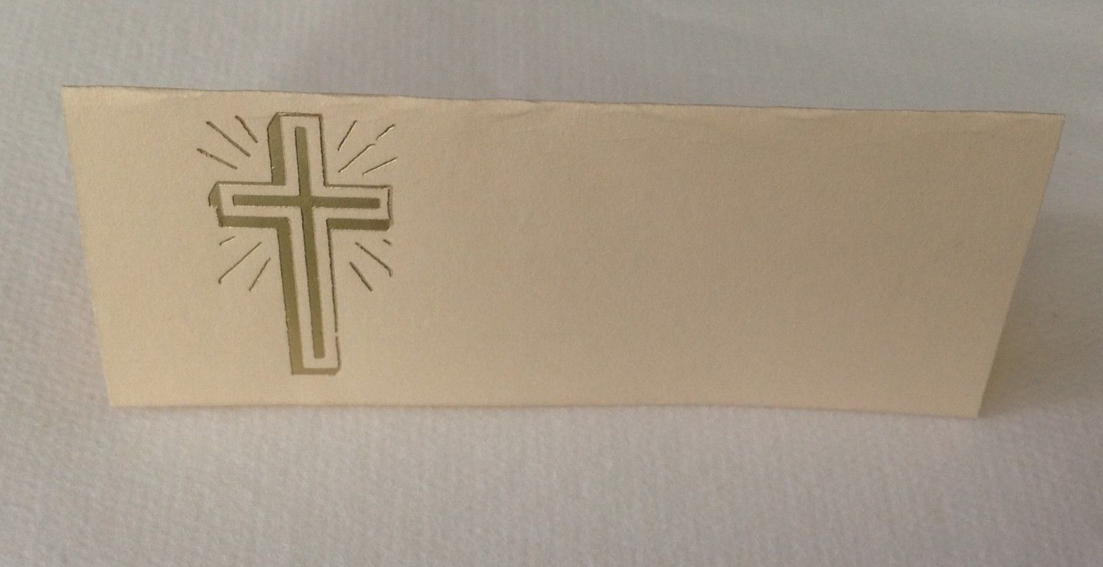 "50 Gold Cross Tent Style Ivory place cards 4.25"" x 1.75 folded"