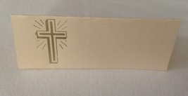 "50 Gold Cross Tent Style Ivory place cards 4.25"" x 1.75 folded - $7.91"