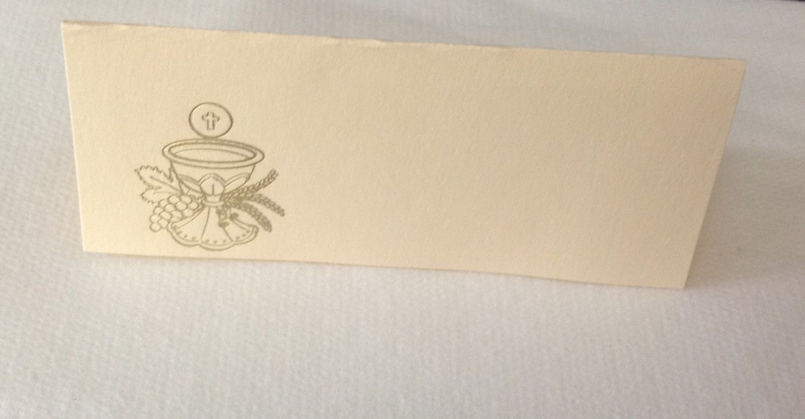 "50 Gold Challis Tent Style Ivory place cards 4.25"" x 1.75 folded"