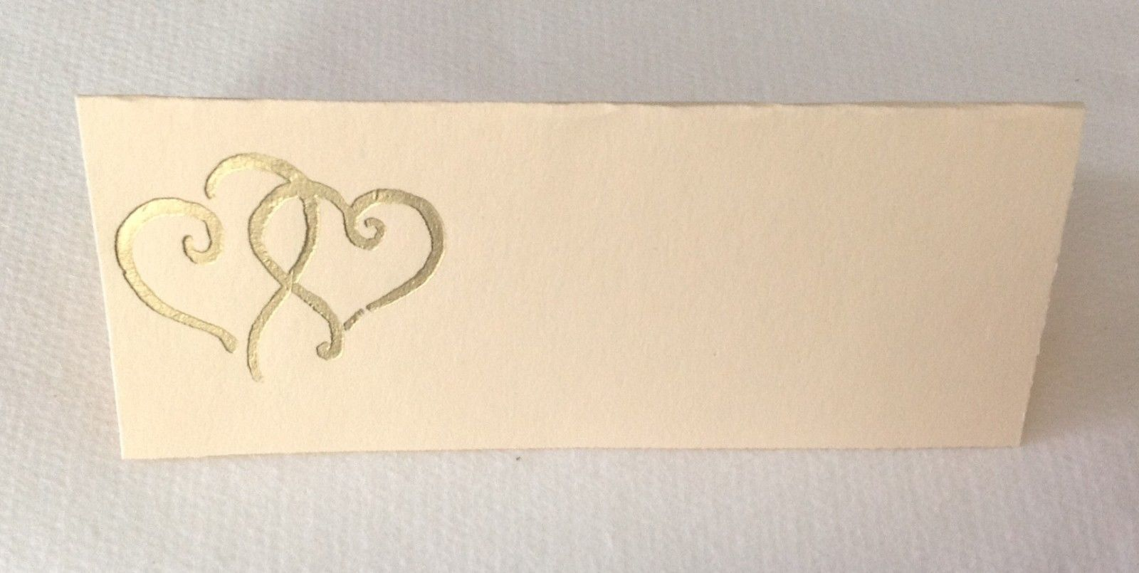 "50 Gold Hearts Tent Style Ivory place cards 4.25"" x 1.75 folded"