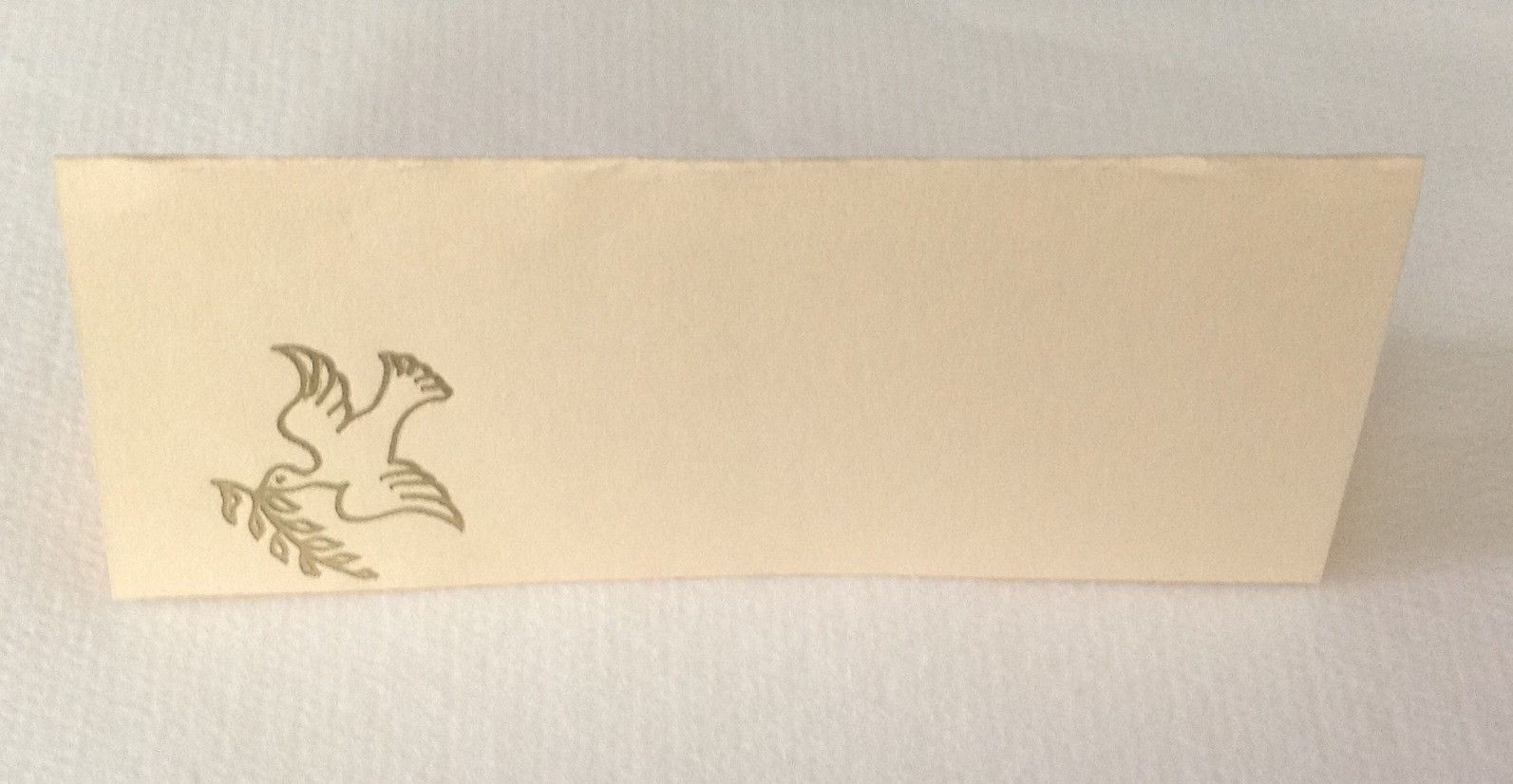 "50 Gold Peace Dove Tent Style Ivory place cards 4.25"" x 1.75 folded"