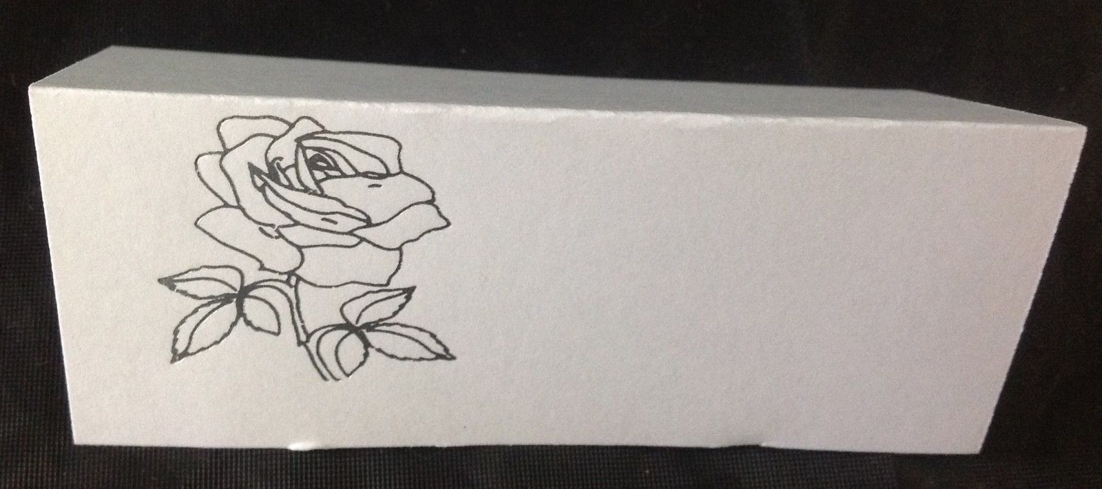"""50 Silver Rose Tent Style White place cards 4.25"""" x 1.75 folded"""