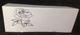 "50 Silver Rose Tent Style White place cards 4.25"" x 1.75 folded - $7.91"