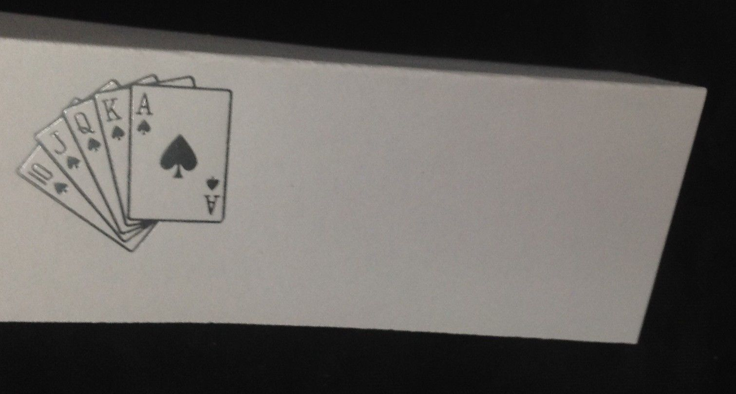 "50 Silver Royal Flush Cards Tent Style White place cards 4.25"" x 1.75 folded"