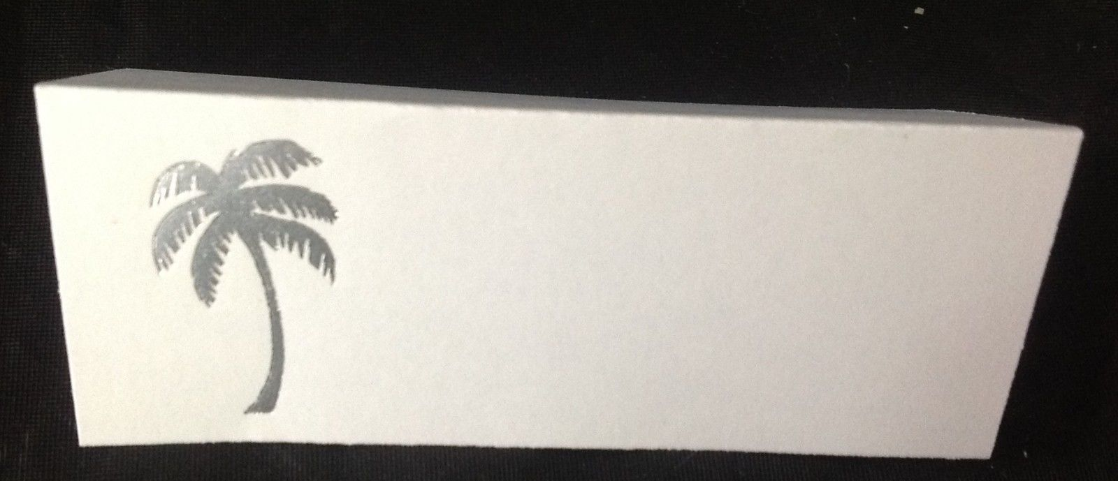 "50 Silver Palm Tree Tent Style White place cards 4.25"" x 1.75 folded"