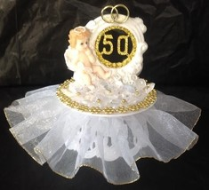 50th Anniversary Angel Cake top crystal like flowers decorated in gold & White - $19.75