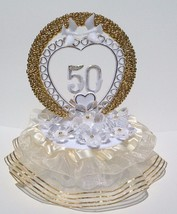 50th Anniversary Cake Top Crystal Like Flowers and Gold Circle Decorated in Gold - $24.70